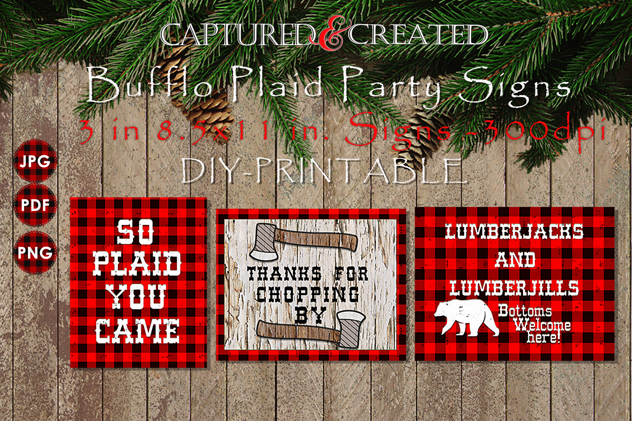 Buffalo Plaid Party Signs/ Wordart /Sayings example image 1