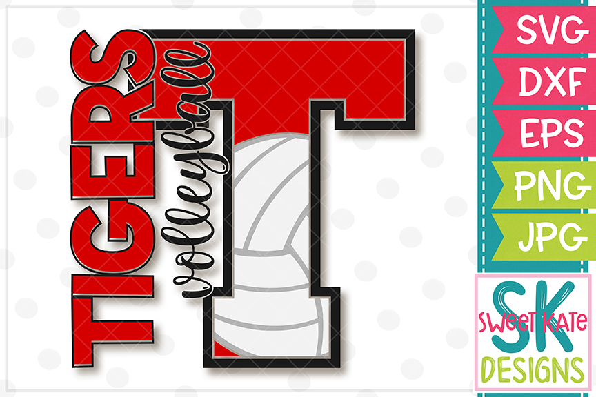 T Tigers Volleyball SVG DXF EPS PNG JPG example image 2