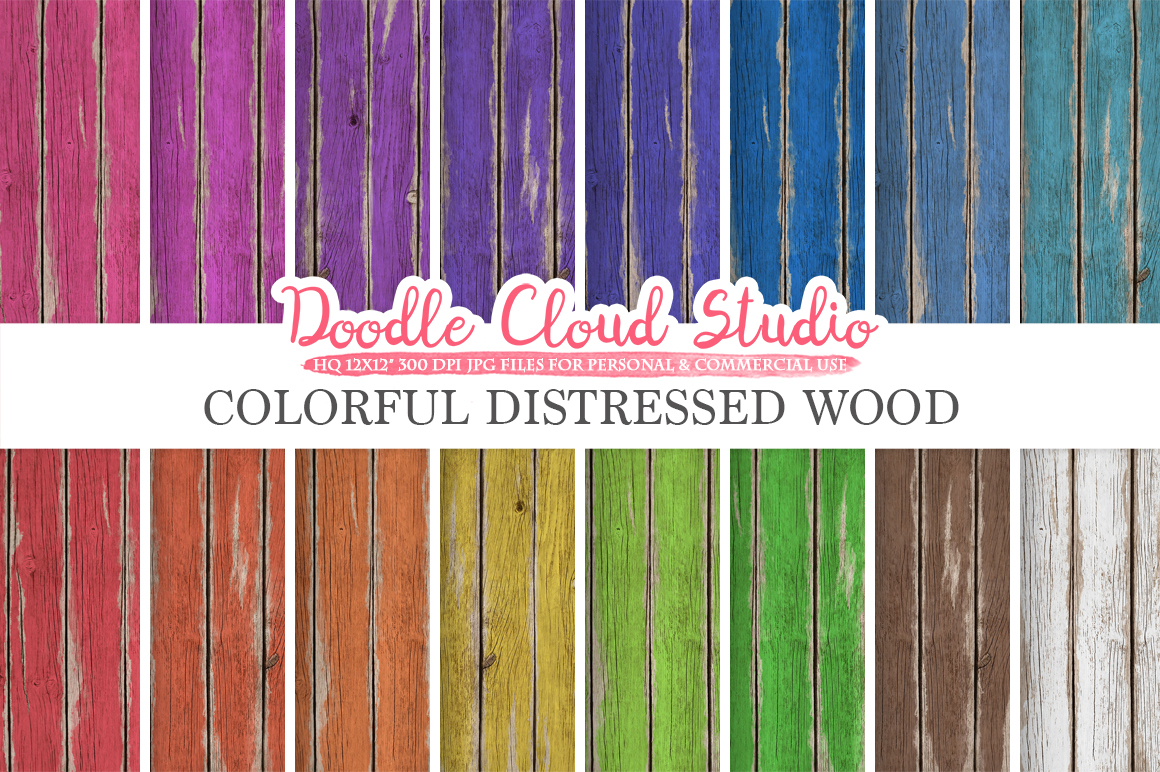 Colorful Distressed Wood digital paper, Bright Colors, Old Fence Wood Backgrounds Real Rustic Wood textures, Instant Download Commercial Use example image 1