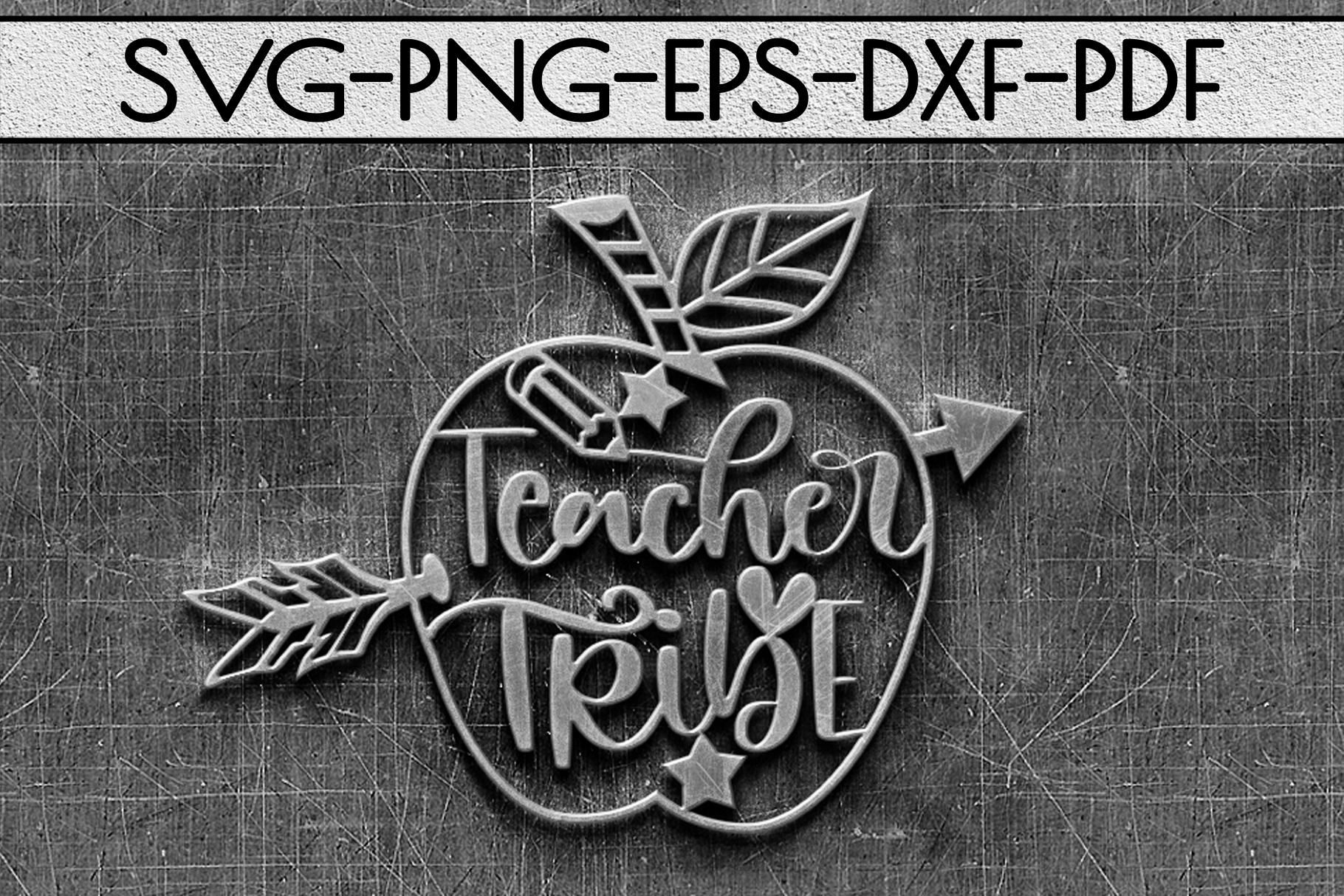 Teacher Tribe Papercut Template, Teacher Appreciation SVG example image 3