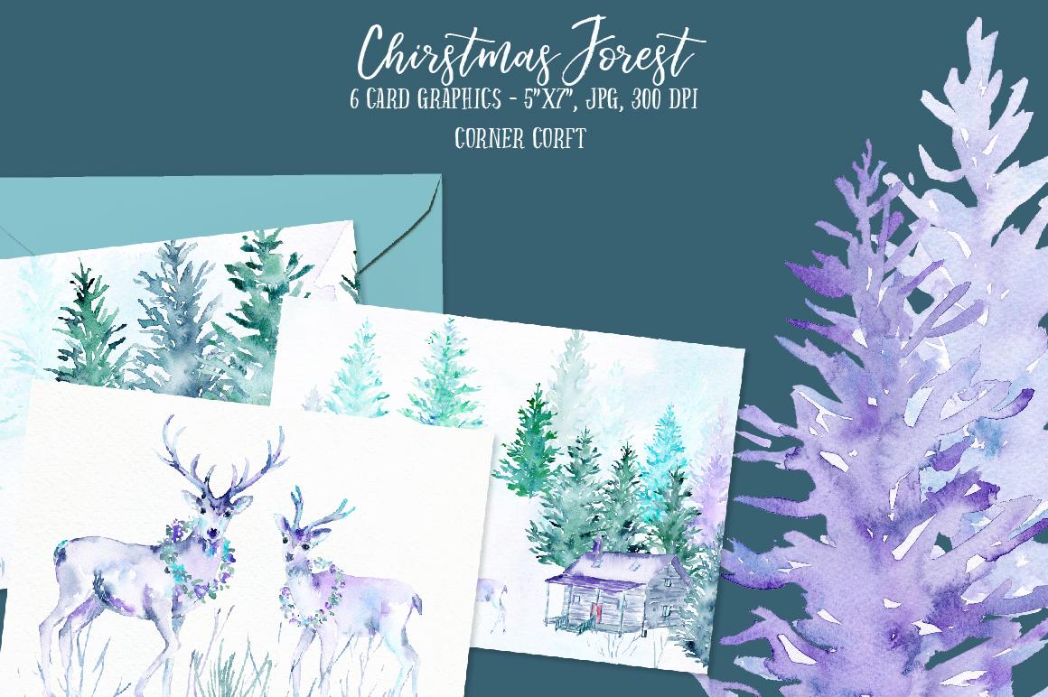 Watercolor Christmas Forest  example image 5