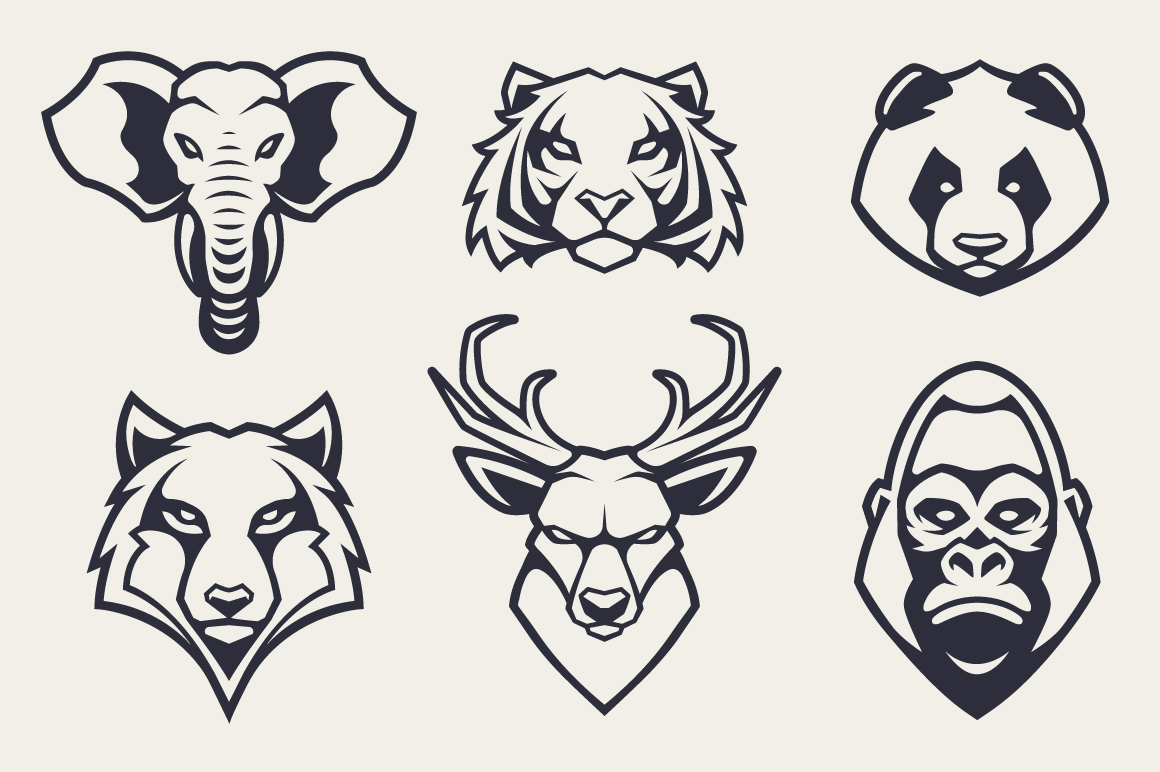 Animals Mascot Icons Vector Set example image 4