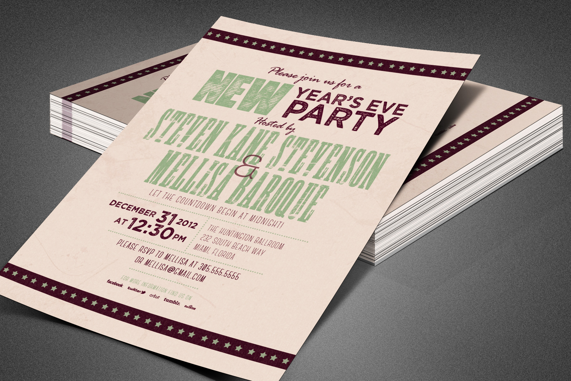 Retro New Year Party Invite Card Template example image 7