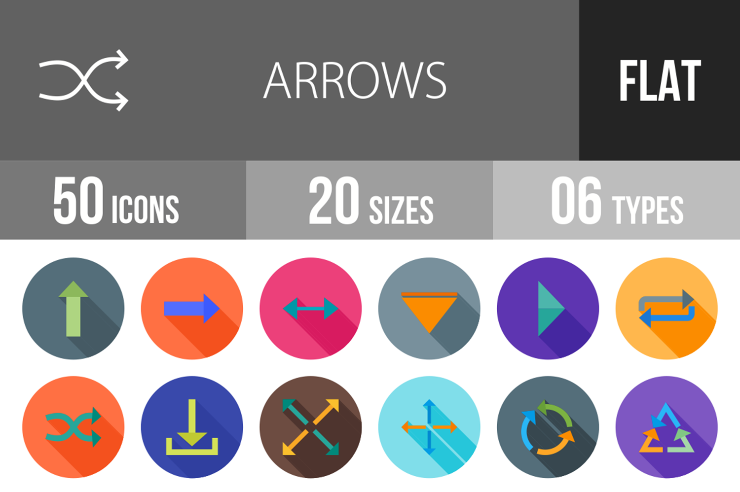 50 Arrows Flat Long Shadow Icons example image 1