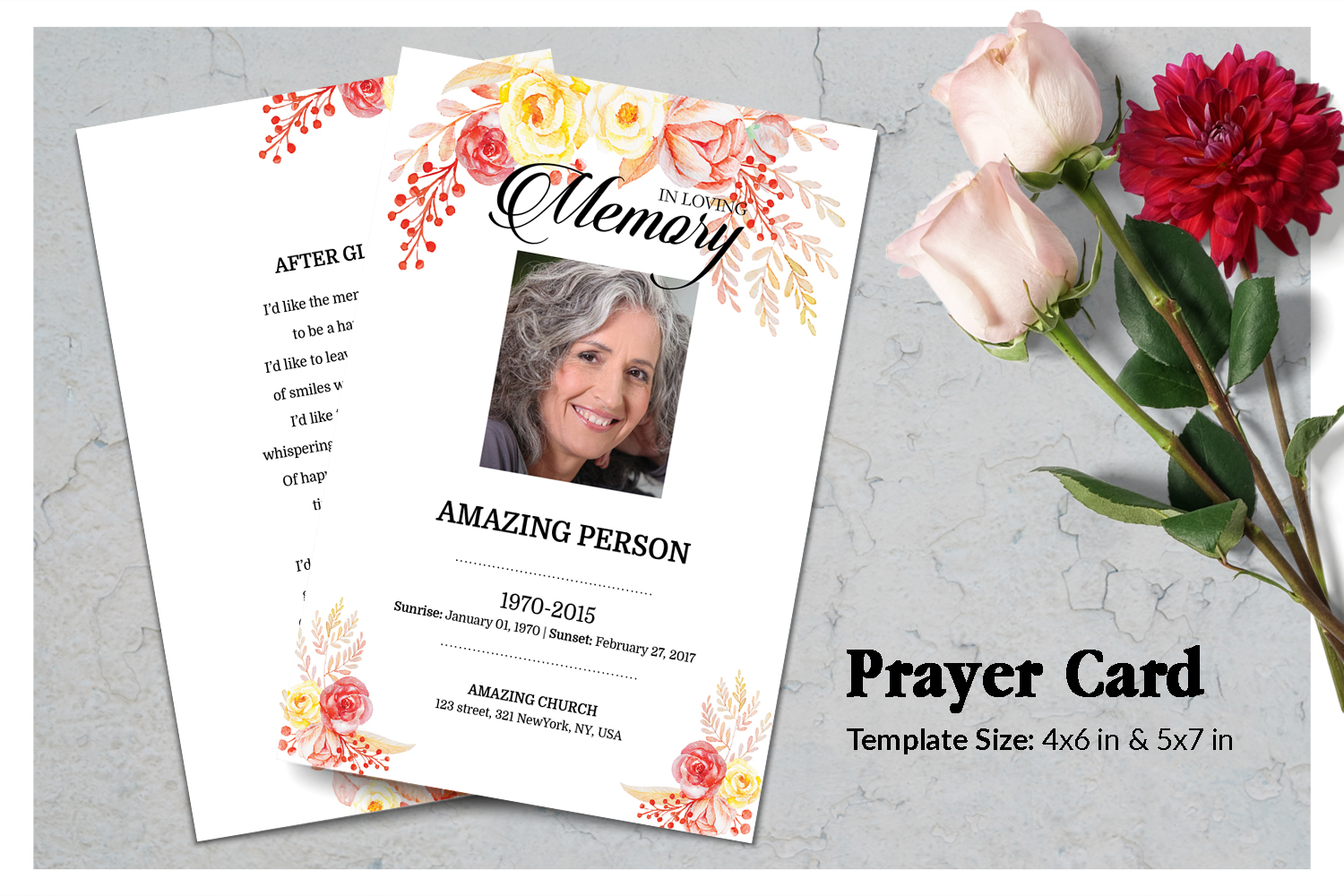 Flower Funeral Prayer Card Template example image 1