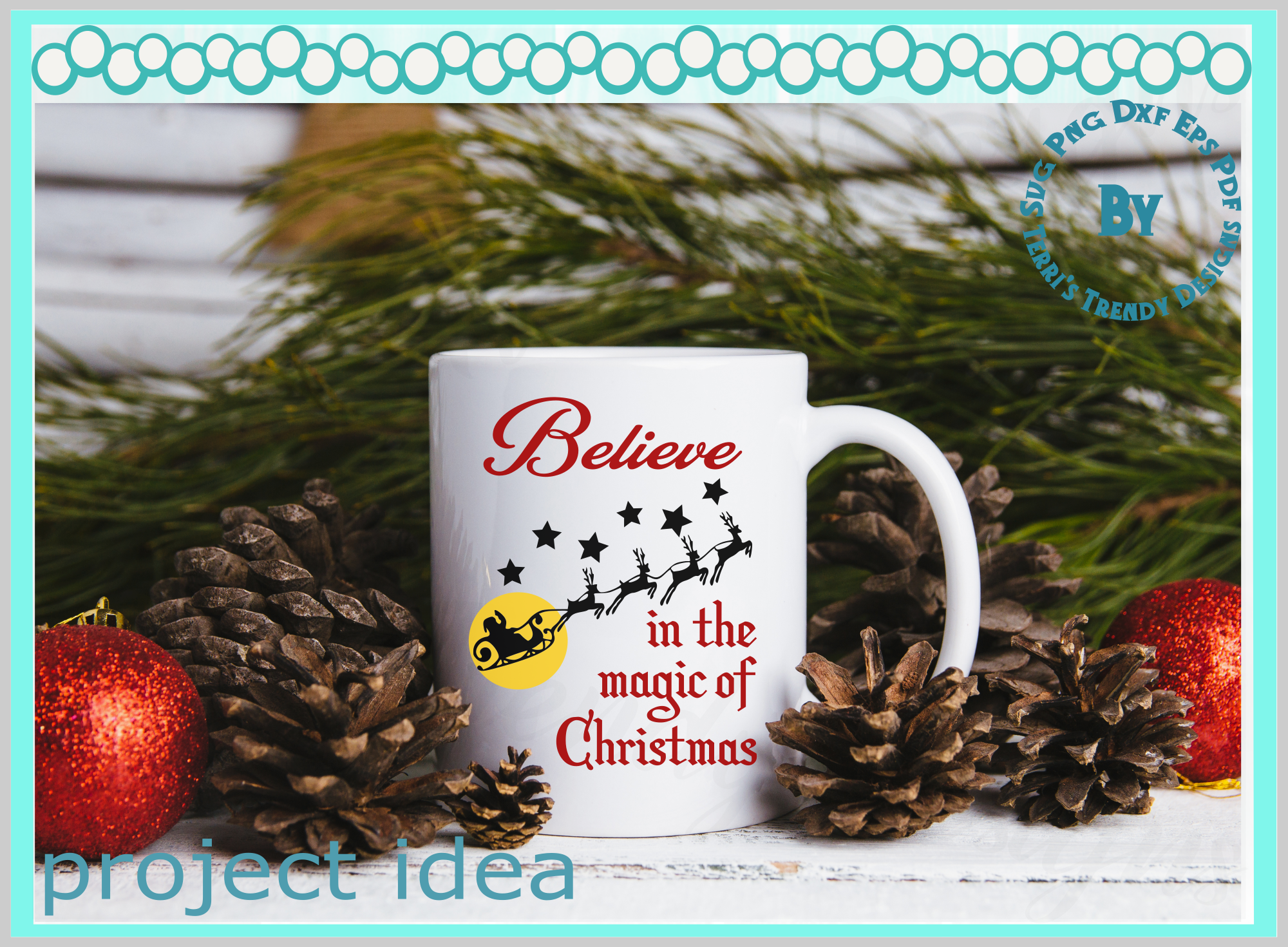 Believe in the magic of Christmas Santa and reindeer quote example image 3