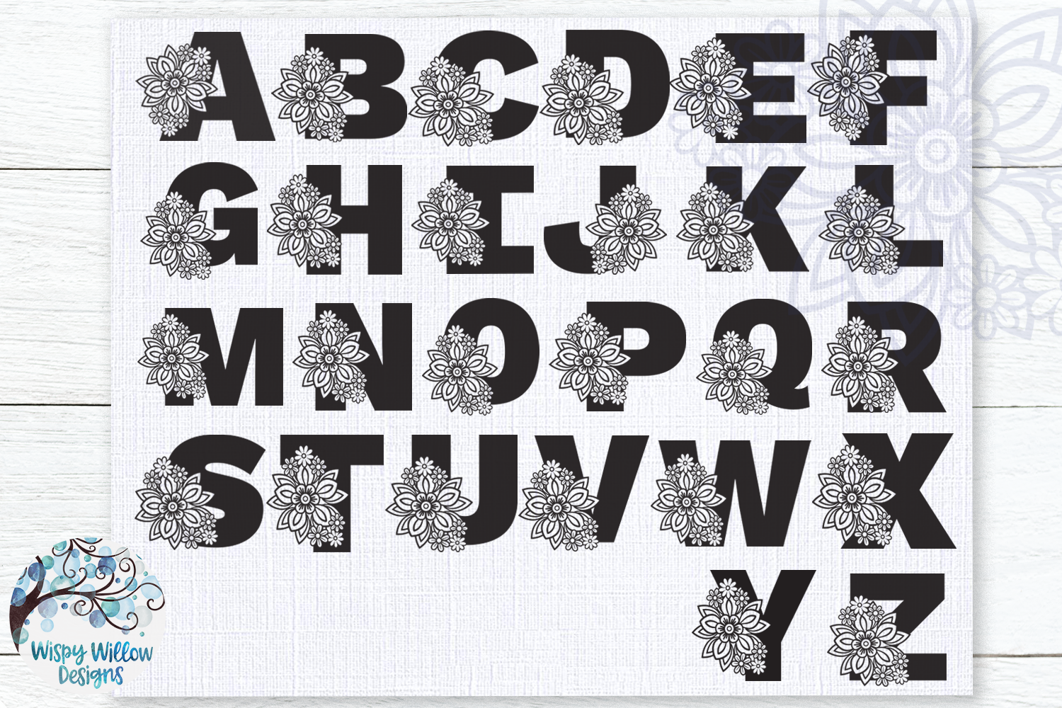 Floral Alphabet SVG Bundle | A to Z Floral Letters SVG example image 2