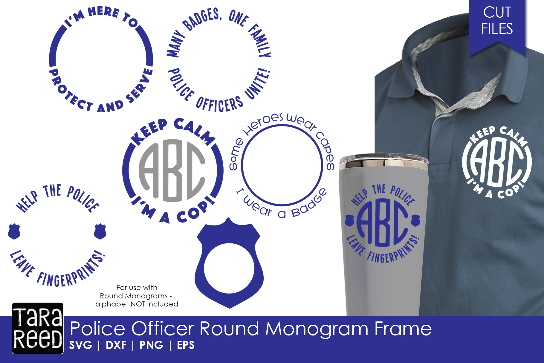 Police Officer Round Monogram Frame - Police SVG & Cut Files example image 1