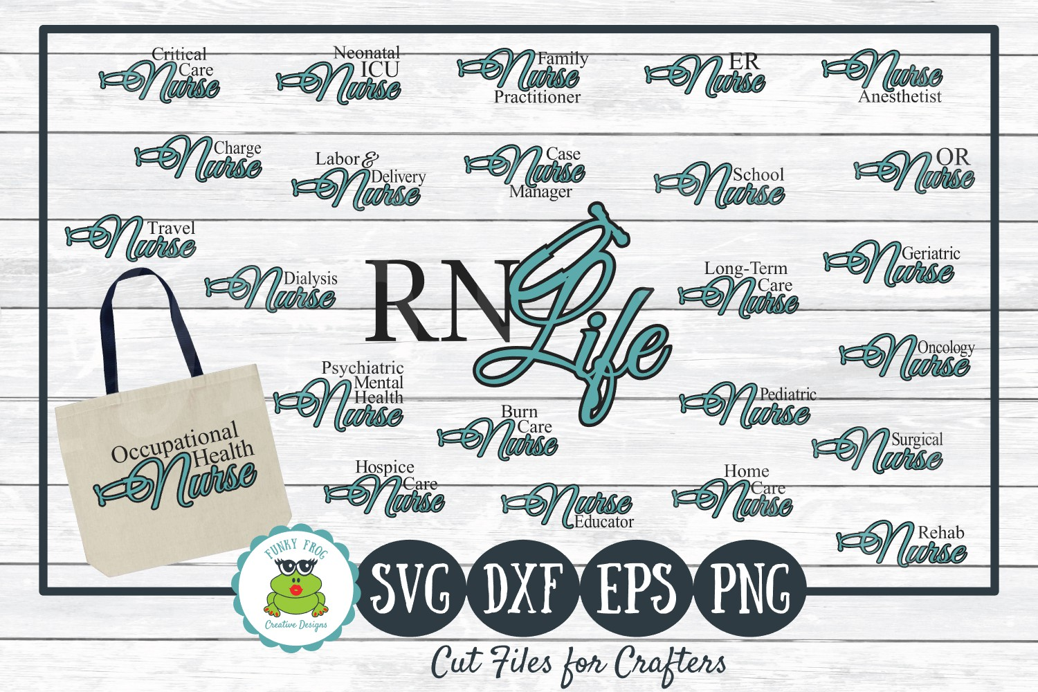 Nursing Titles, Types of Nurses Bundle SVG Cut Files example image 1