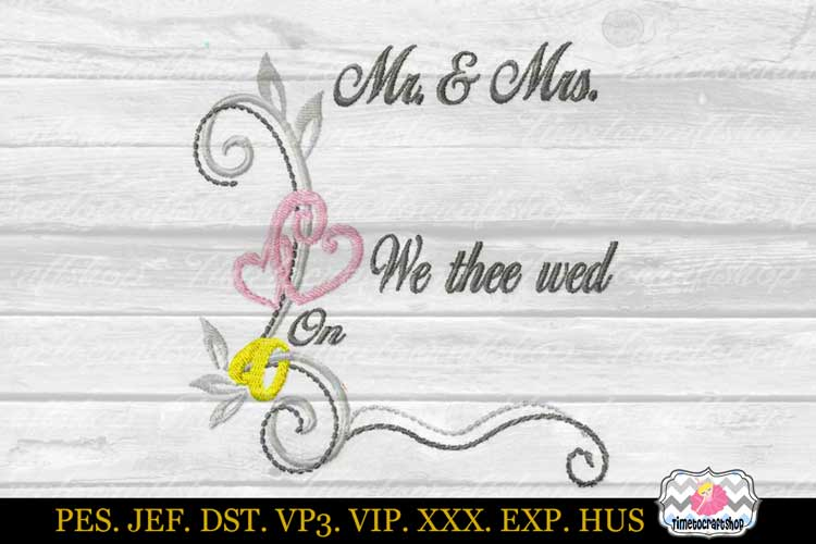 3 sizes Wedding Announcement Embroidery Design Template example image 2