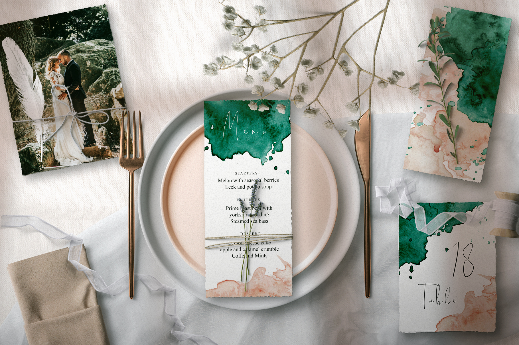 Green and Pink Wedding Invitation Suit example image 3