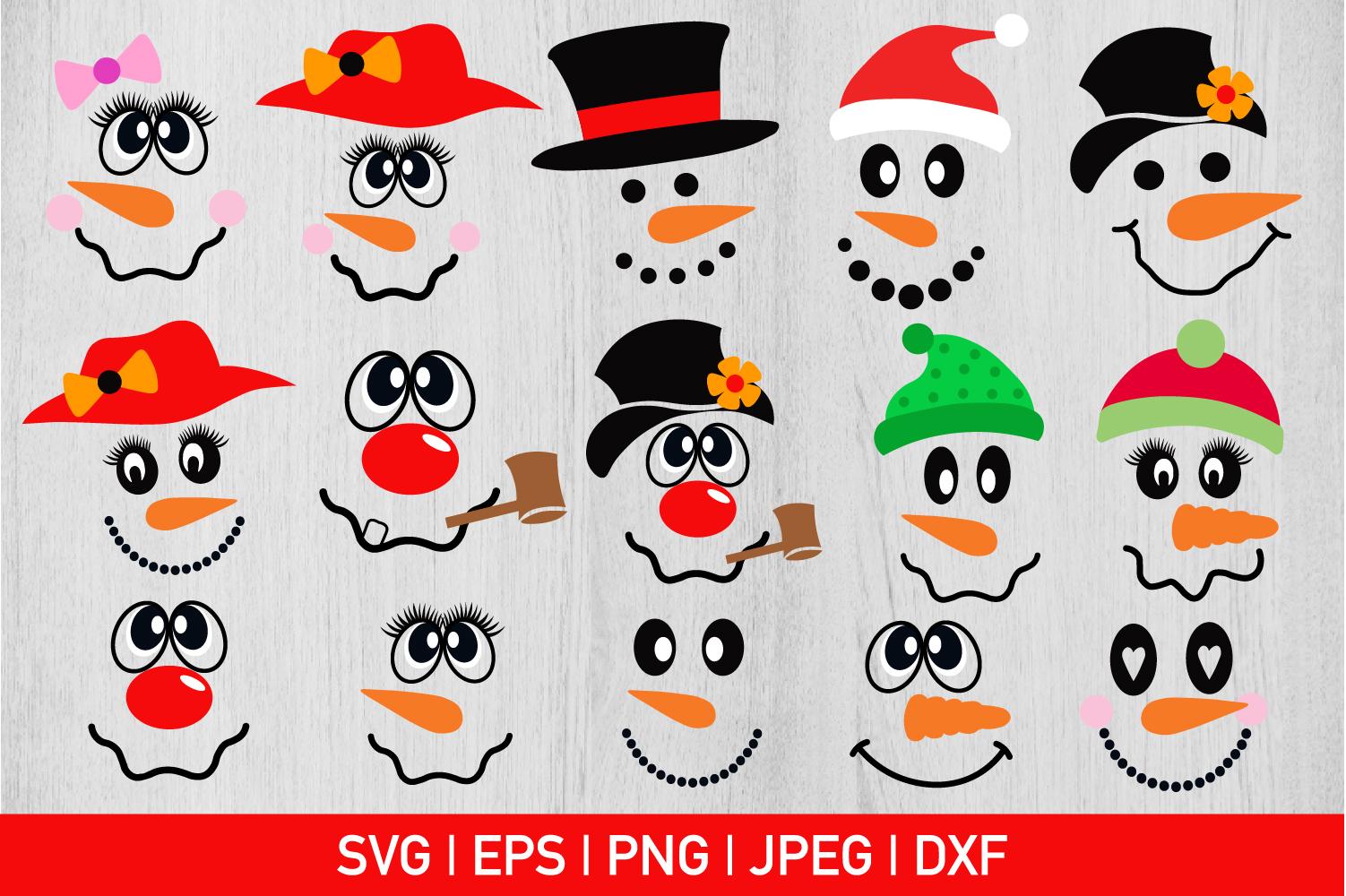 Snowman Face Bundle Svg example image 1