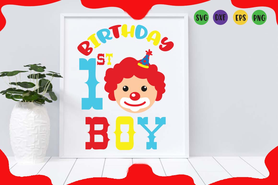 1st Birthday boy, circus party svg for crafters example image 1
