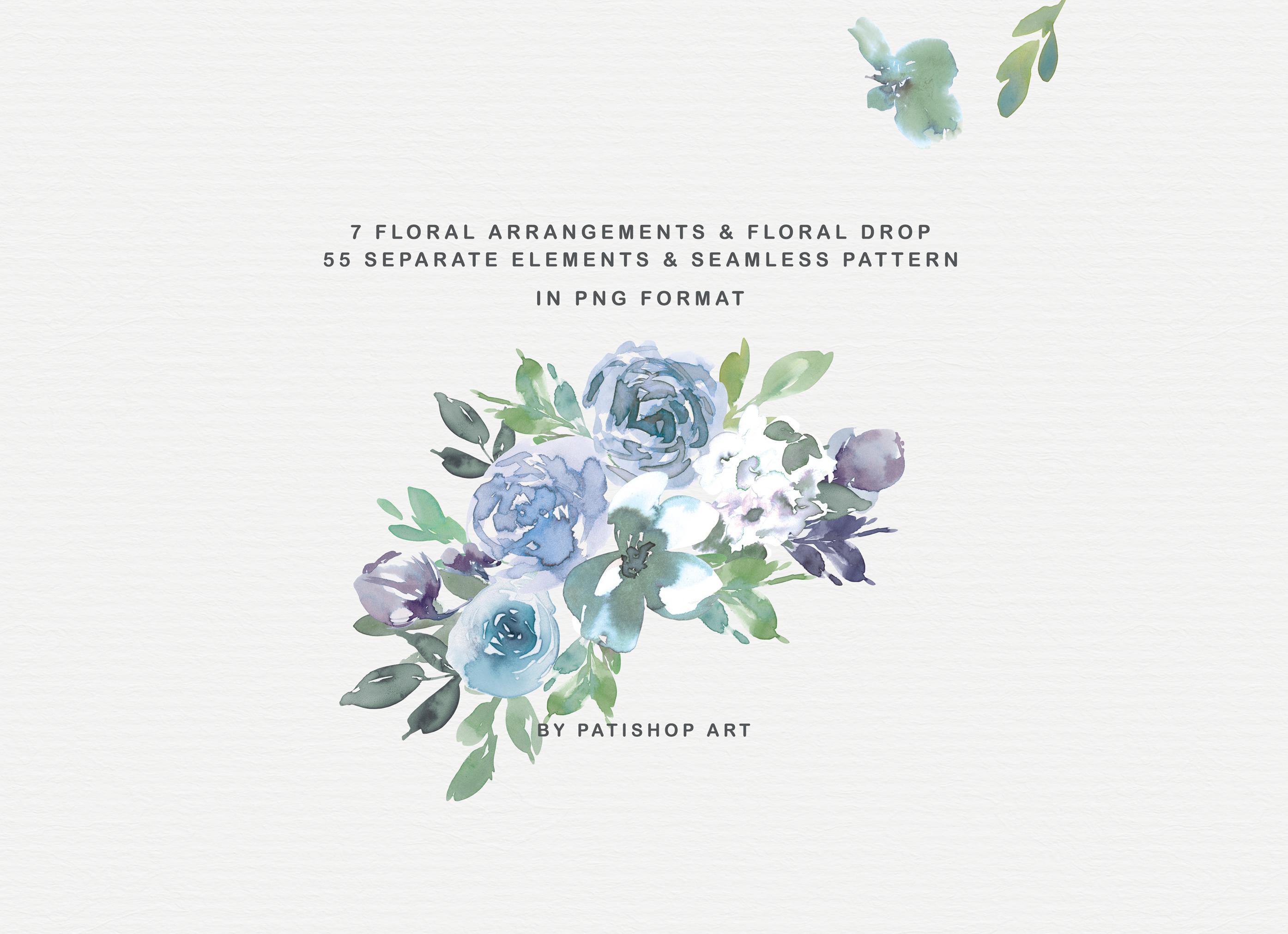Pale Aqua & Laurel Green Watercolor Floral Clipart Set example image 4