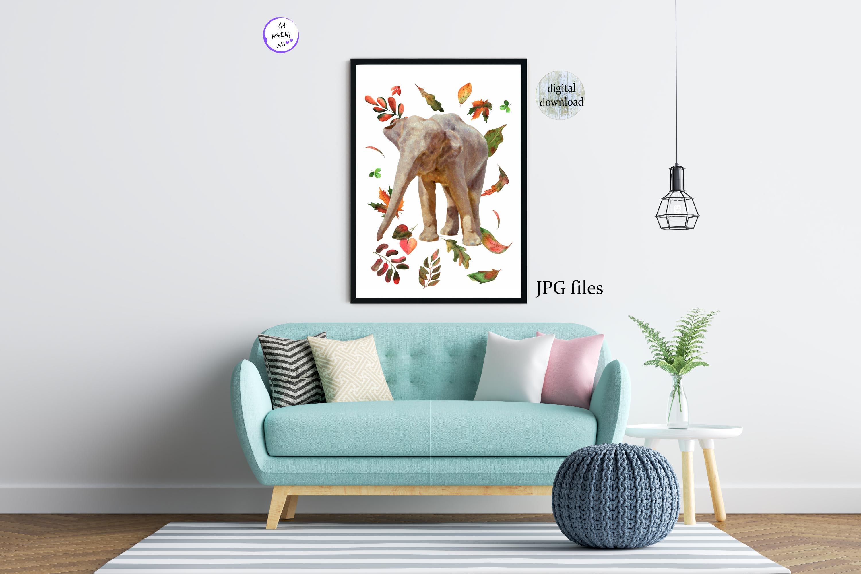 Fall elephant printable files, Elephant nursery poster, example image 4