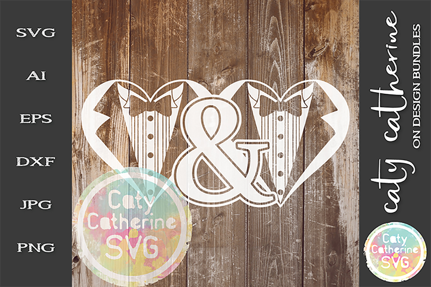 Mr & Mr Groom & Groom Tuxedo Heart Wedding SVG Cut File example image 1
