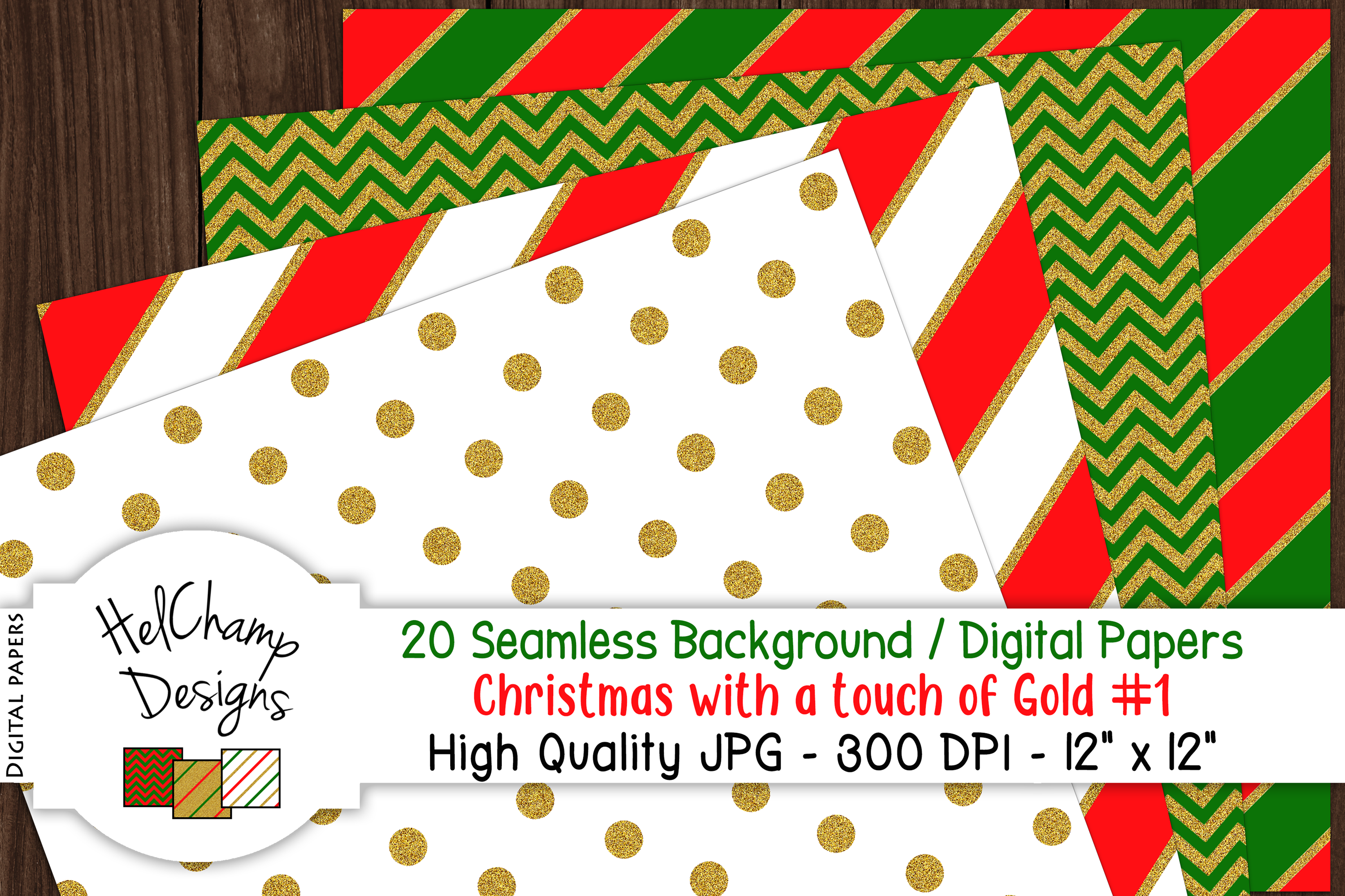 20 seamless Digital Papers - Christmas with Gold - HC006 example image 2