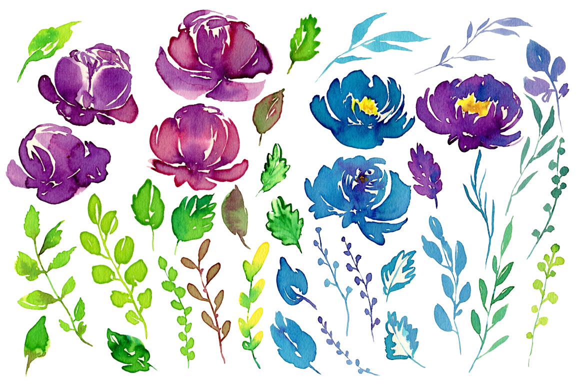 Juicy watercolor flowers PNG example image 2