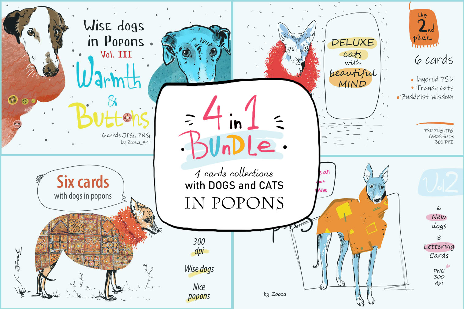 BUNDLE 4 in 1 - dogs and cats cards example image 1