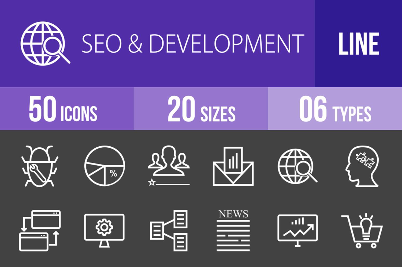 50 SEO & Development Line Inverted Icons example image 1