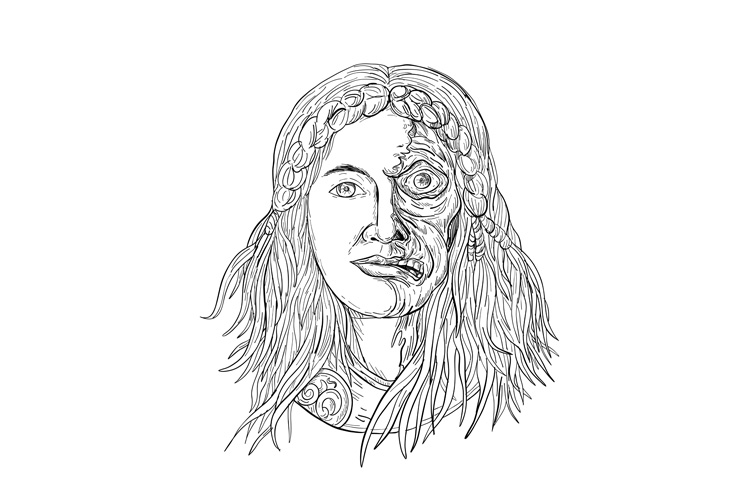 Norse Goddess Hel Face Front Drawing Black and White example image 1