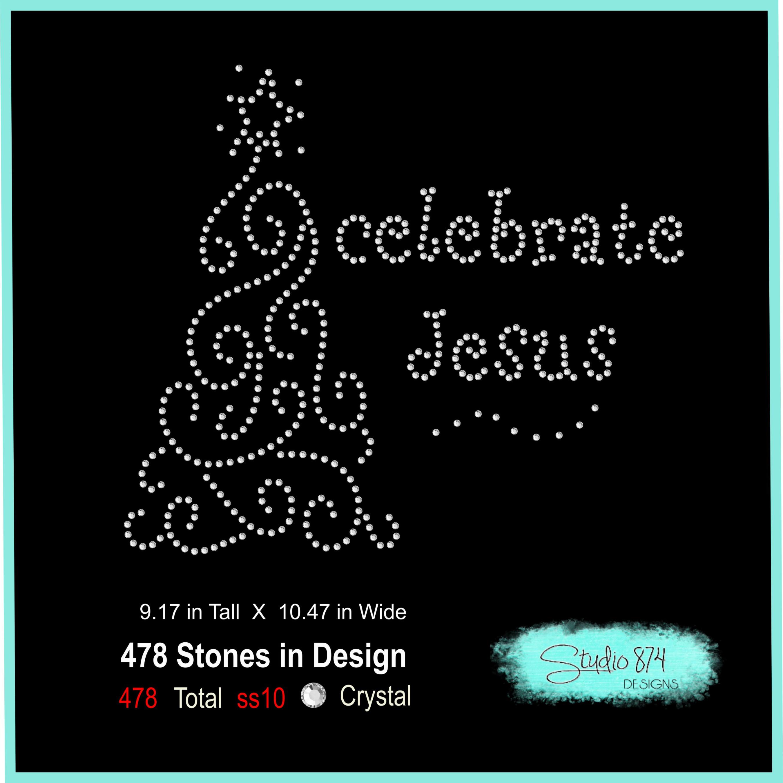 Christmas Rhinestone SVG Template - Celebrate Jesus example image 3
