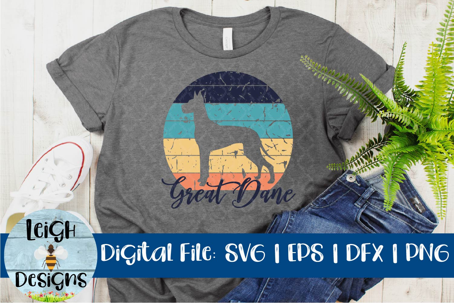 Great Dane Distressed SVG example image 2