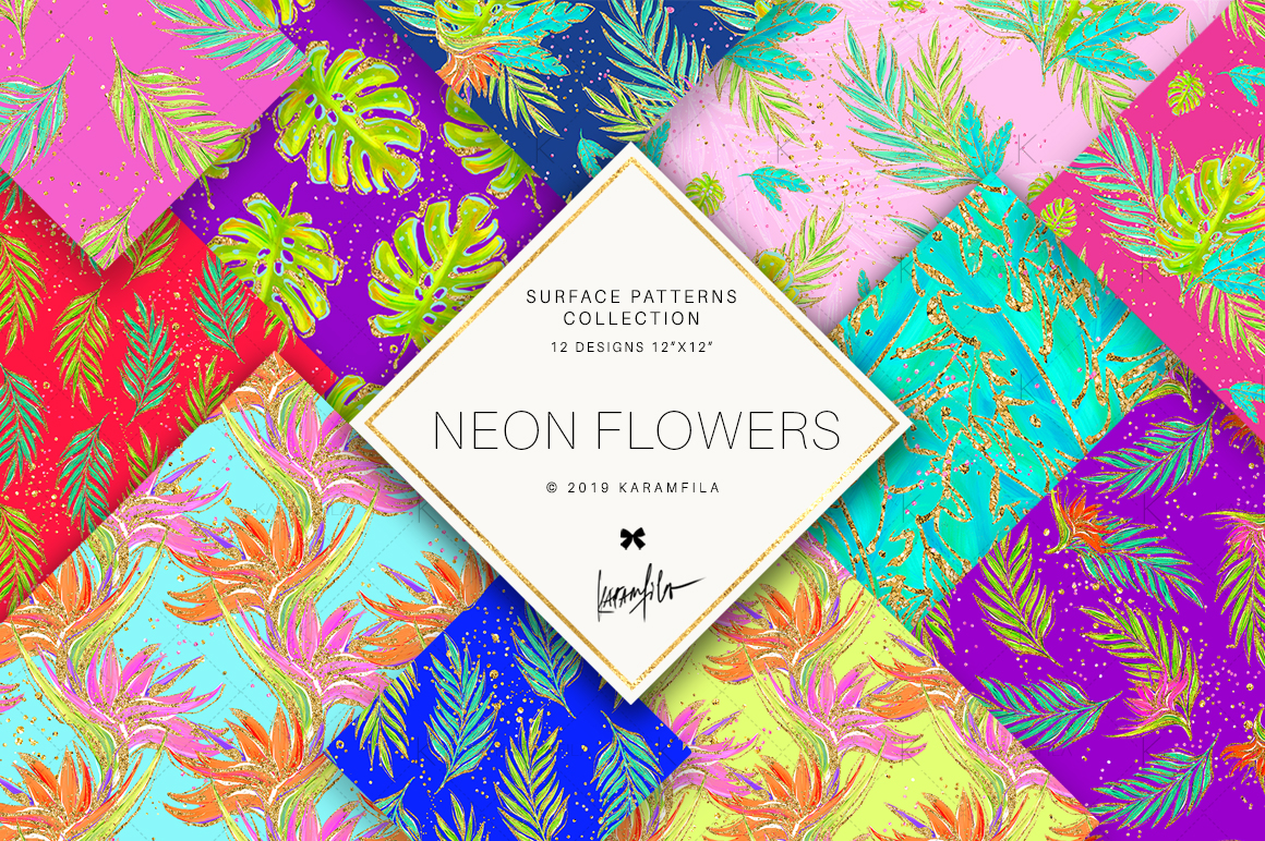 Neon Tropical Digital Paper, Tropical Floral Patterns example image 1