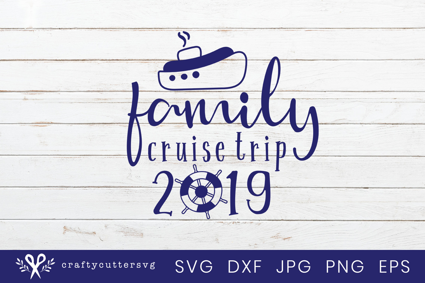 Family Cruise Trip Svg Cut File Ship Steering wheel Clipart example image 2