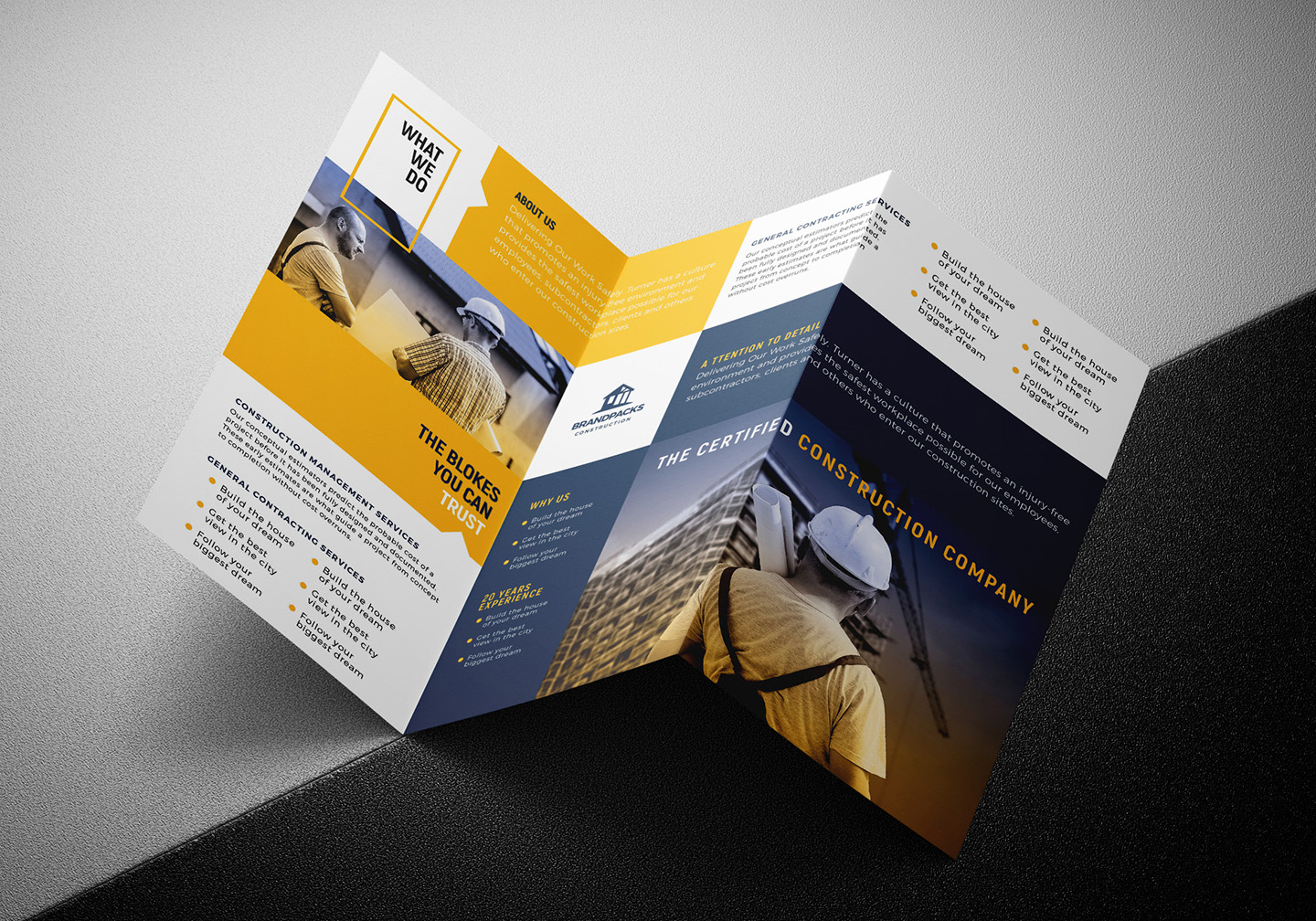 Construction Company Tri-Fold Brochure Template example image 5