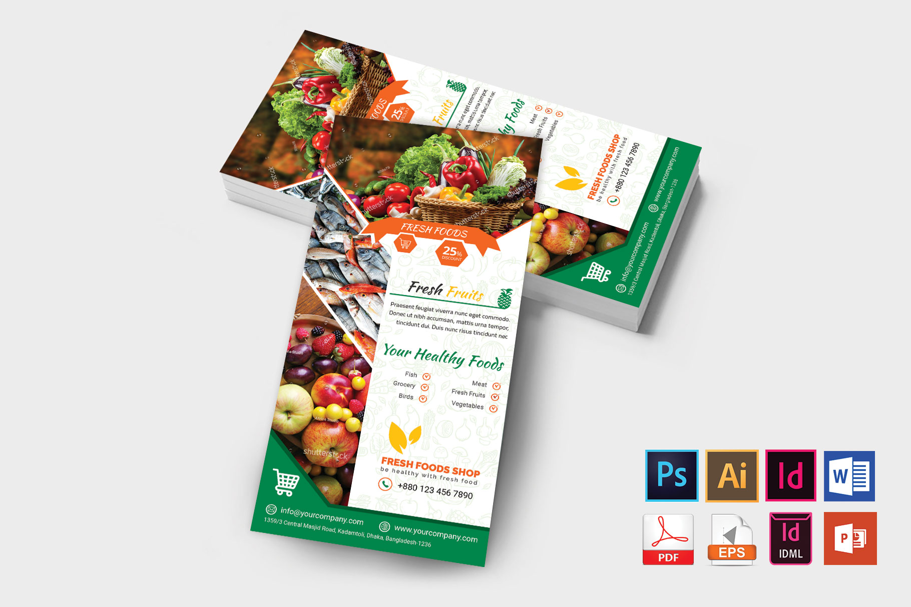 Rack Card | Fresh Food DL Flyer Vol-03 example image 2