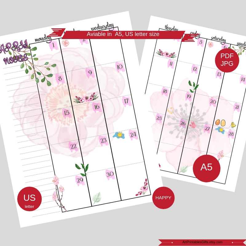 Monthly Planner Printable Happy pages, Month Organizer, A5 example image 3