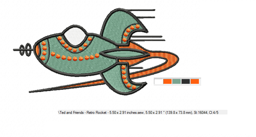 RETRO Rocket ~ Machine Embroidery Design in 2 sizes - Instant Download ~ Futuristic Jestons' Style Rocket example image 3