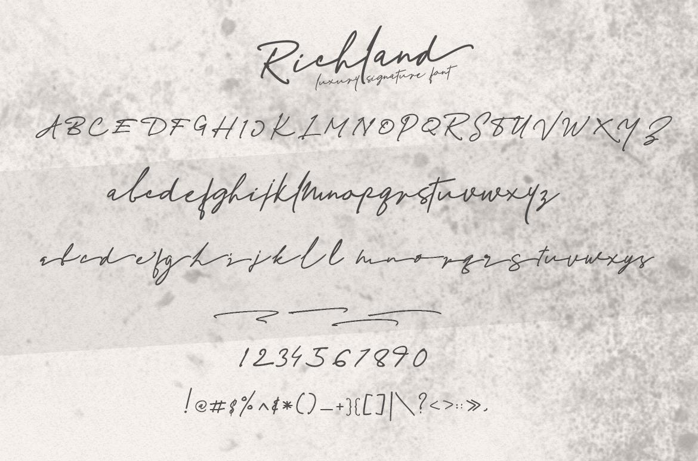 Richland | signature font example image 8