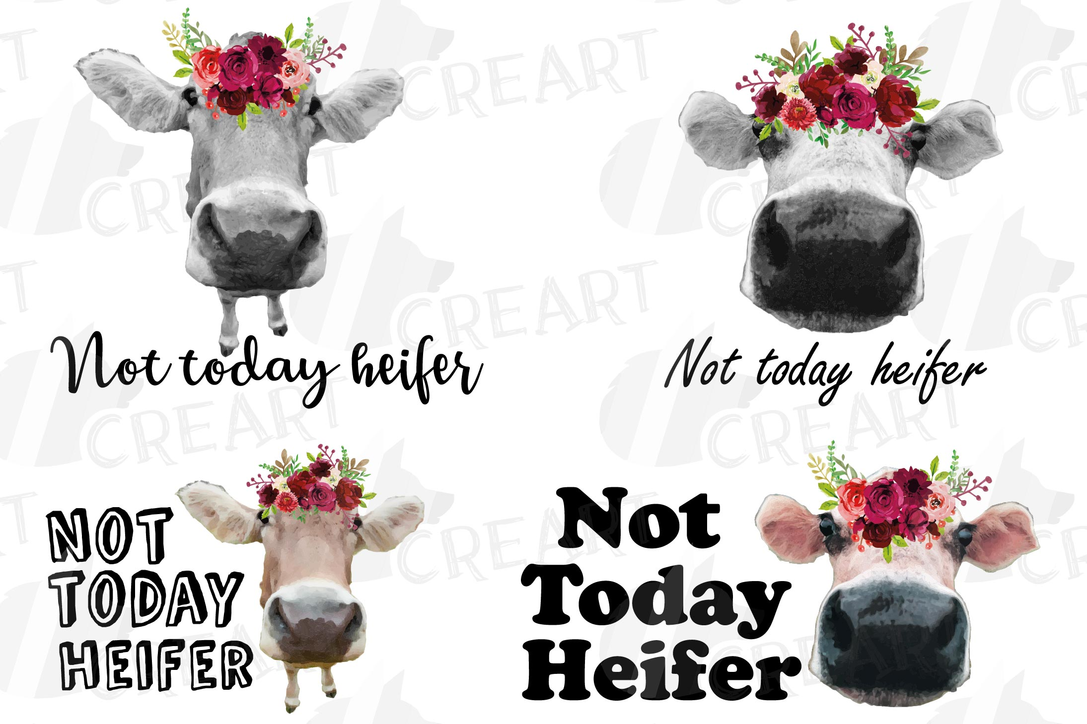 Not today Heifer printable floral burgundy decor, floral cow example image 1
