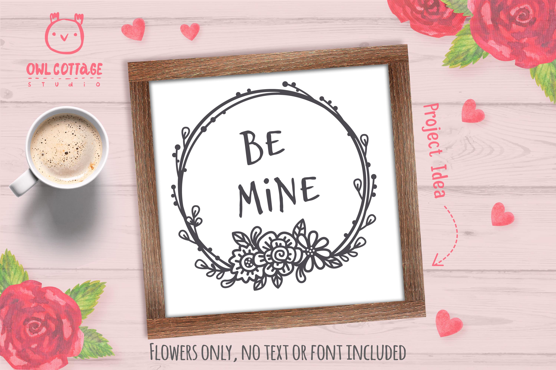 Valentines Floral Monogram cut file, Circle Flowers Wreaths example image 5