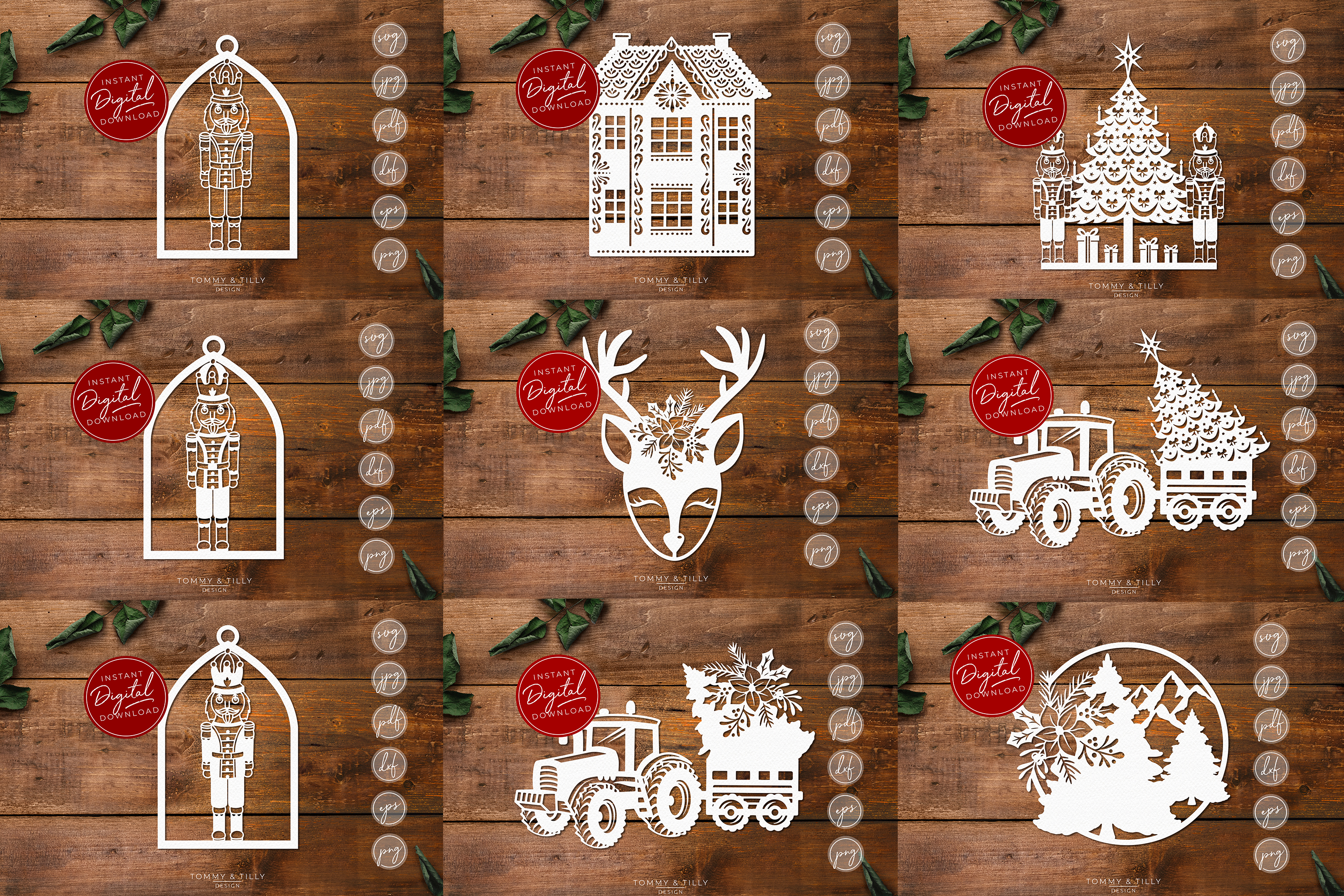 MEGA BUNDLE! 60 Christmas Cut Files - SVG | Papercut example image 6
