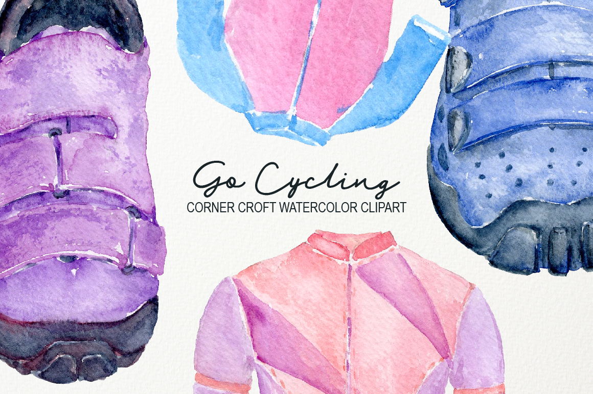Watercolor Cycling Clipart example image 5
