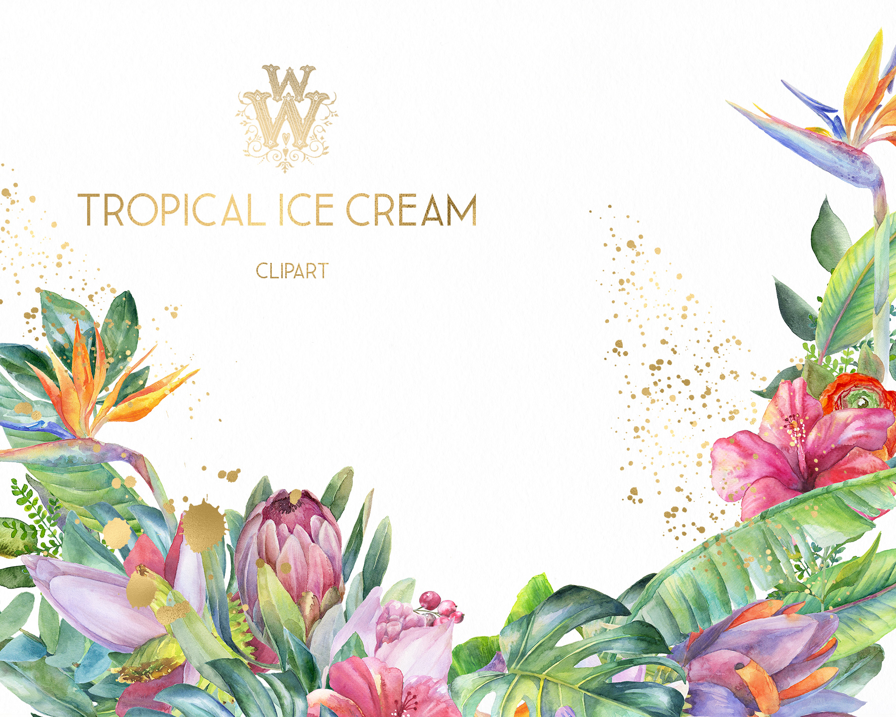 Watercolor summer tropical flower clipart, floral Ice Cream example image 7
