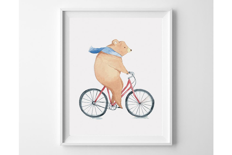 Bear on Bicycle Print for Kids Decor, nimal Poster for Kids example image 1