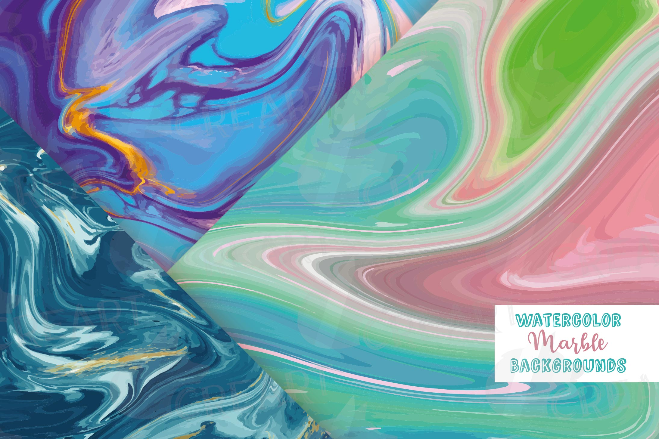 Watercolor Marble digital paper, colorful digital paper example image 1
