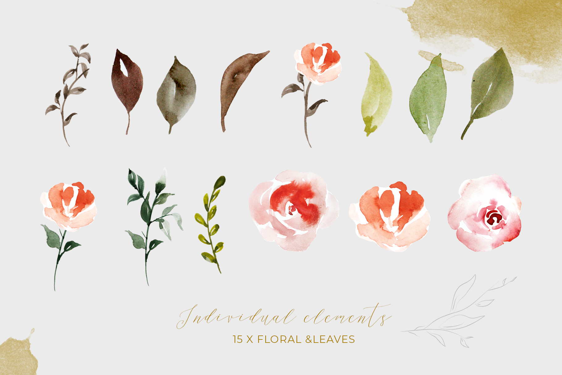 Watercolor Flower Clipart example image 4