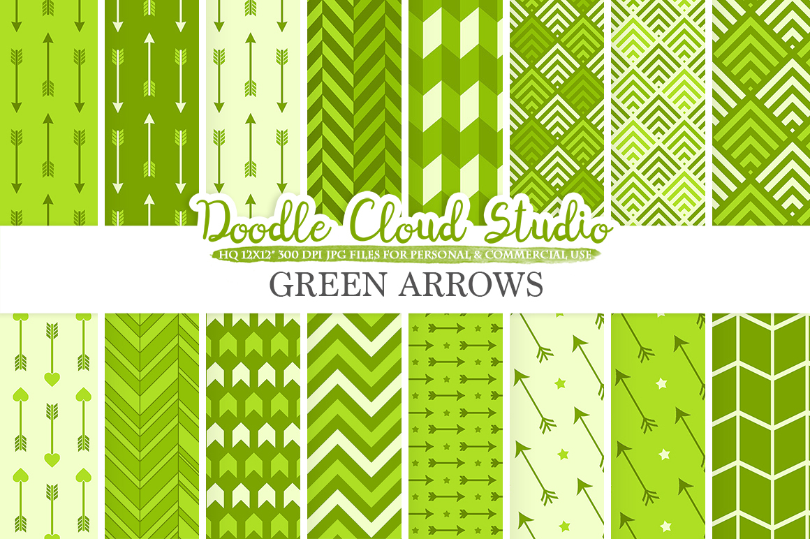 Green Arrows digital paper, Green Arrow patterns, tribal, archery, chevron triangles backgrounds Instant Download, Personal & Commercial Use example image 1