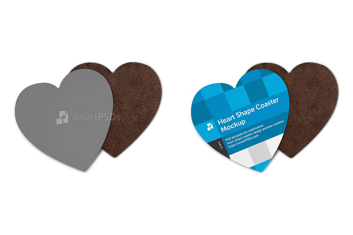 Heart Shape Coasters Design Mockup example image 1