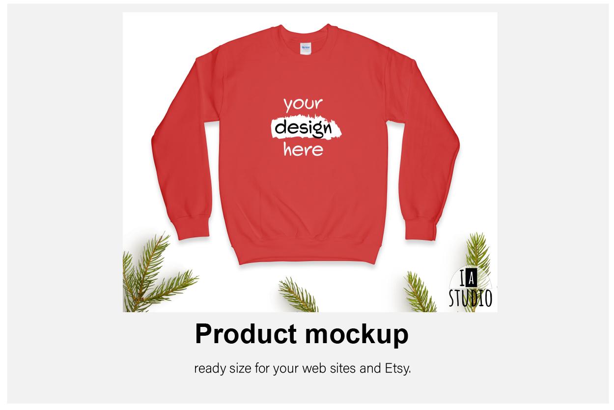 Christmas Sweatshirt Mockup / Gildan 18000 Red / Flat Lay example image 4