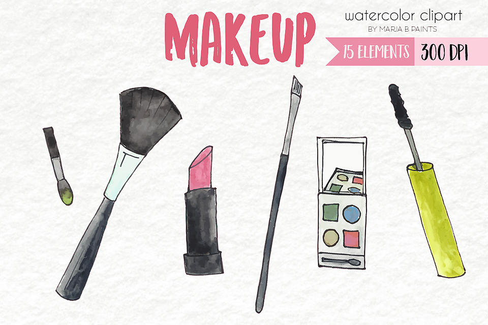 Watercolor Clip Art - Make Up example image 1
