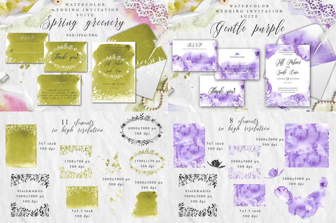 Watercolor Wedding Invitations Suits. GIANT BUNDLE example image 13