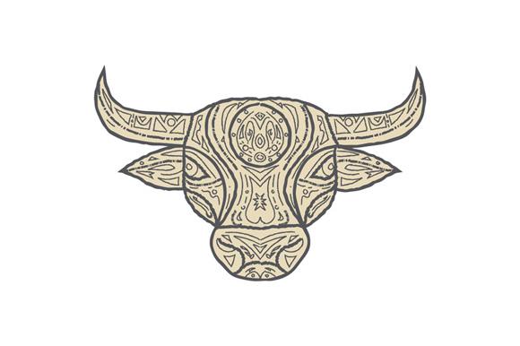Bull Cow Head Front Mandala example image 1