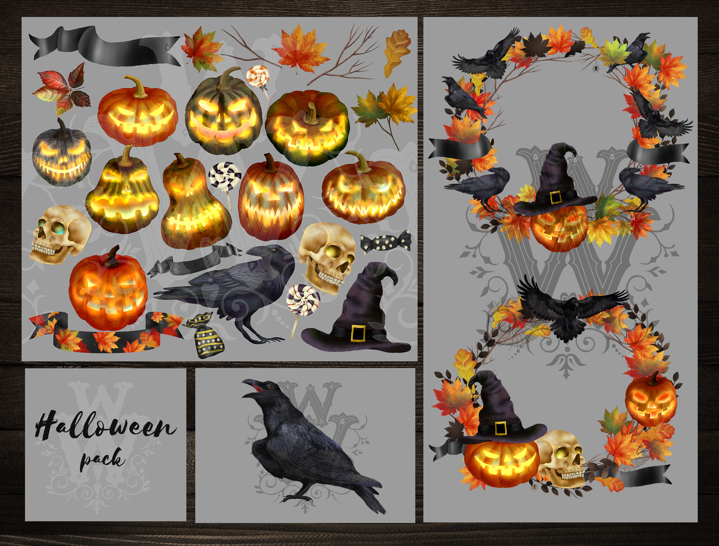 Spooky Halloween clipart with pumpkins, skull and ravens example image 2