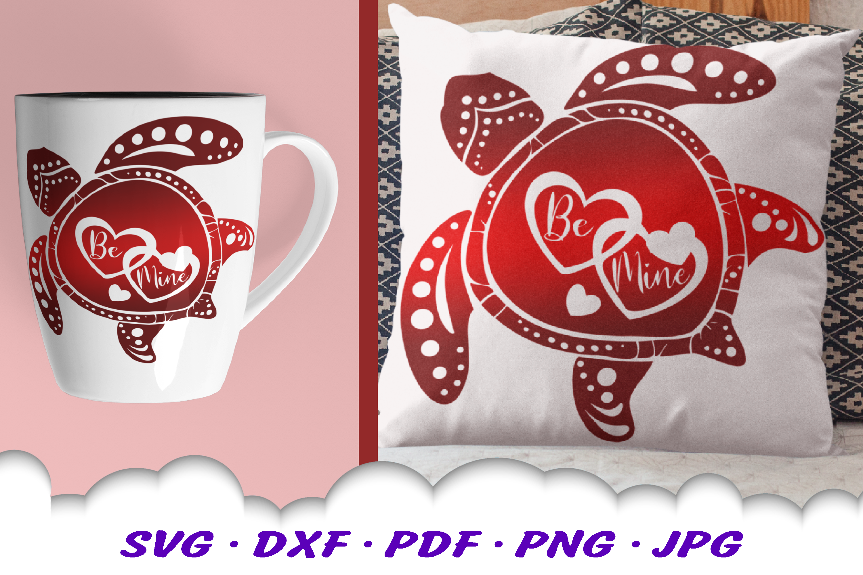 Valentines Sea Turtle Hearts Be Mine SVG DXF Cut Files example image 2